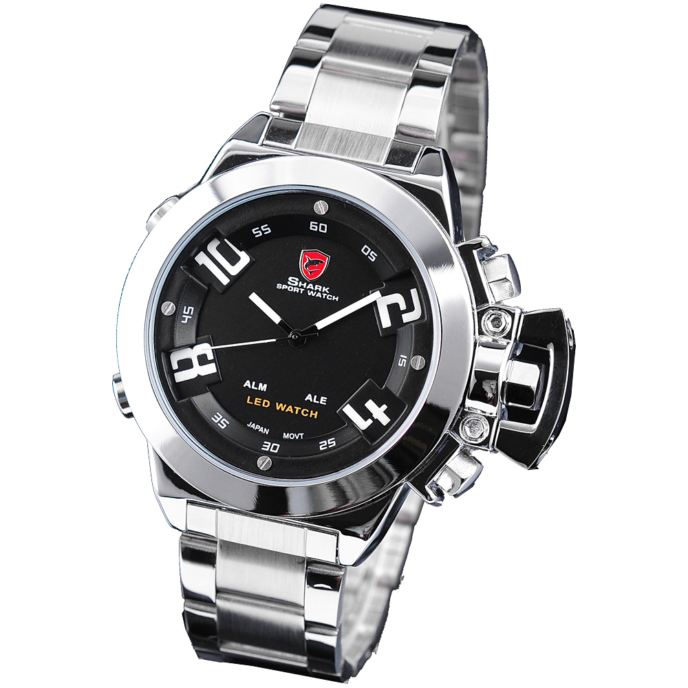 Hodinky SHARK LED Digital Dual Time Army Silver